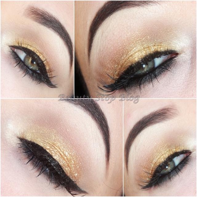 tutorial maquiagem dourada com brilho delineado gatinho festa beauty stop blog bruna reis beauty