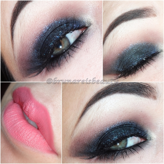 tutorial preto com brilho azul black eye blue glitter beauty stop blog bruna reis brunareisbeauty lips